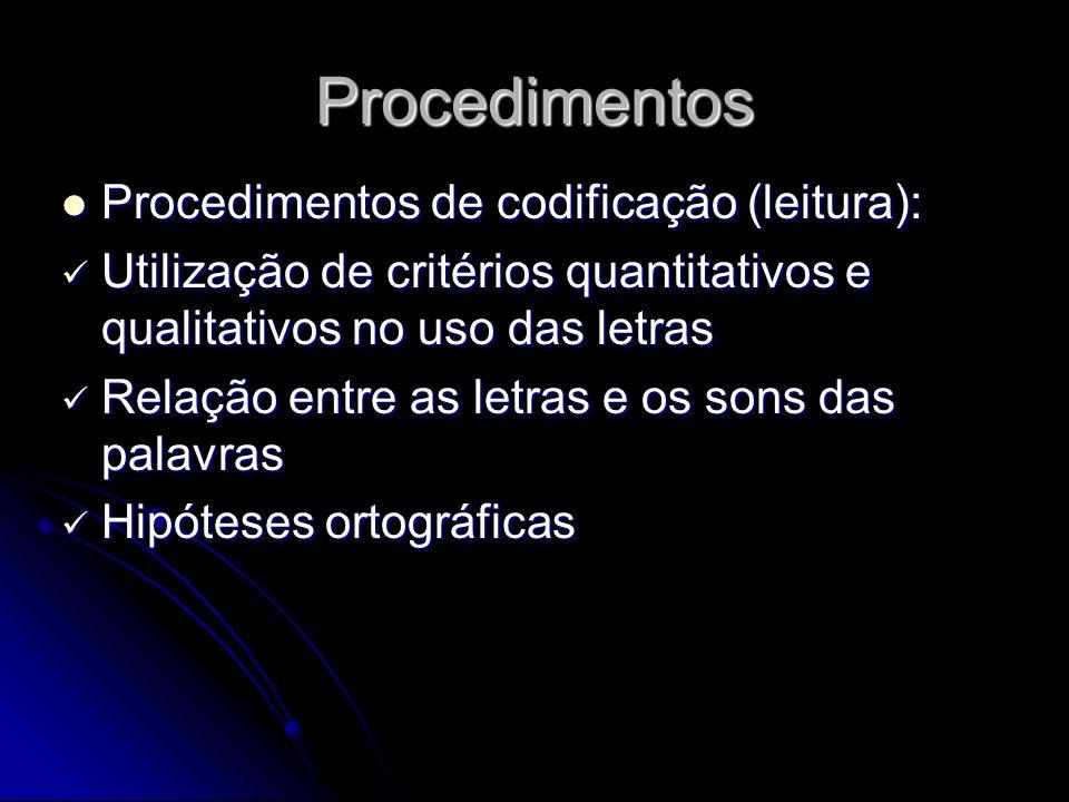 Procedimentos Procedimentos de codificação (leitura):