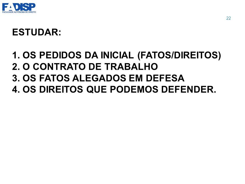 1. OS PEDIDOS DA INICIAL (FATOS/DIREITOS) 2. O CONTRATO DE TRABALHO