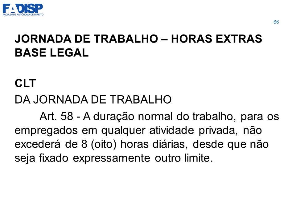JORNADA DE TRABALHO – HORAS EXTRAS BASE LEGAL CLT