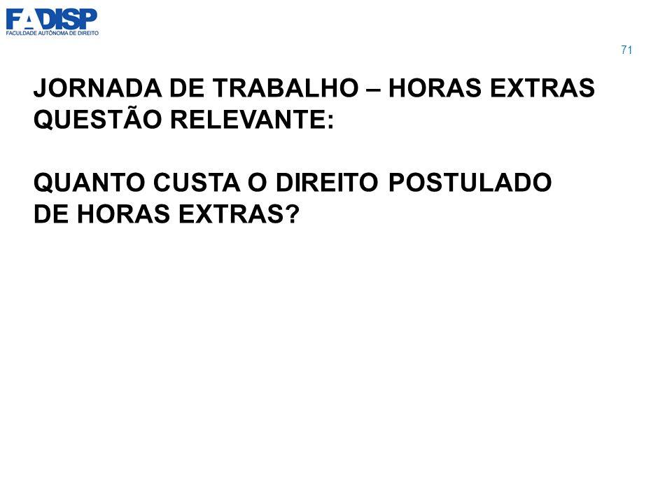 JORNADA DE TRABALHO – HORAS EXTRAS QUESTÃO RELEVANTE: