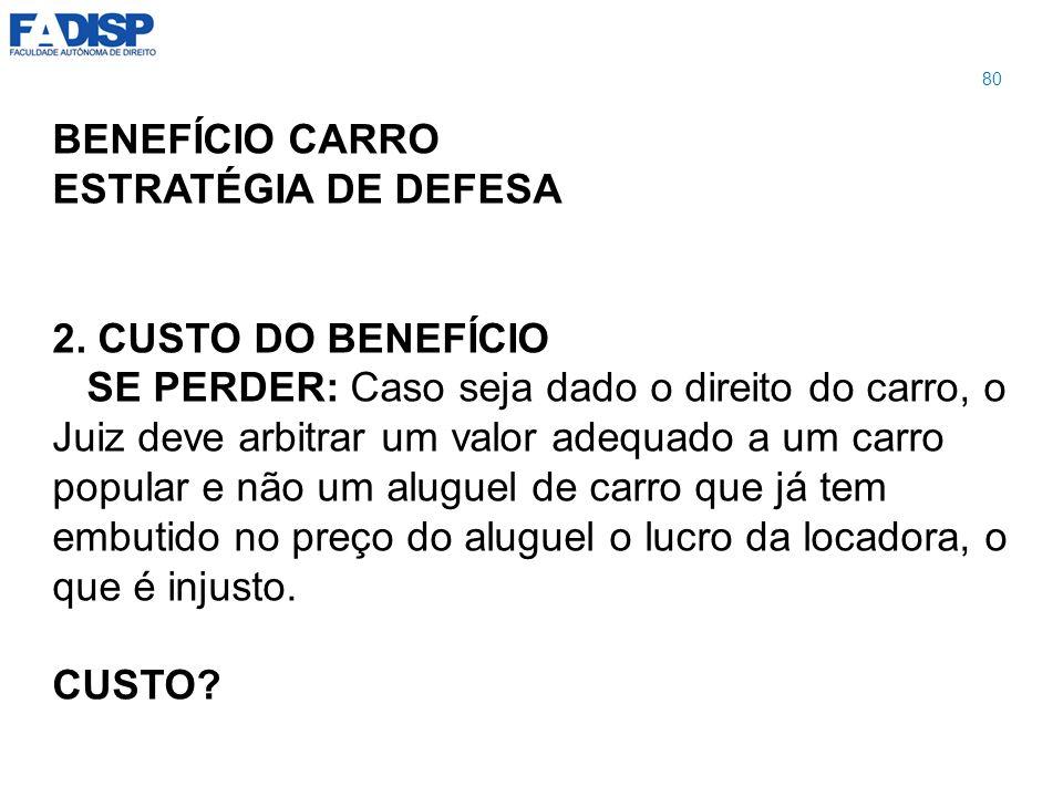 BENEFÍCIO CARRO ESTRATÉGIA DE DEFESA 2. CUSTO DO BENEFÍCIO