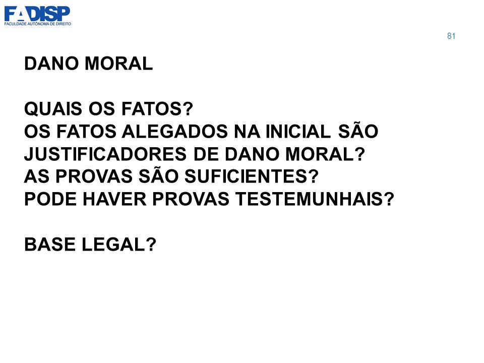 OS FATOS ALEGADOS NA INICIAL SÃO JUSTIFICADORES DE DANO MORAL