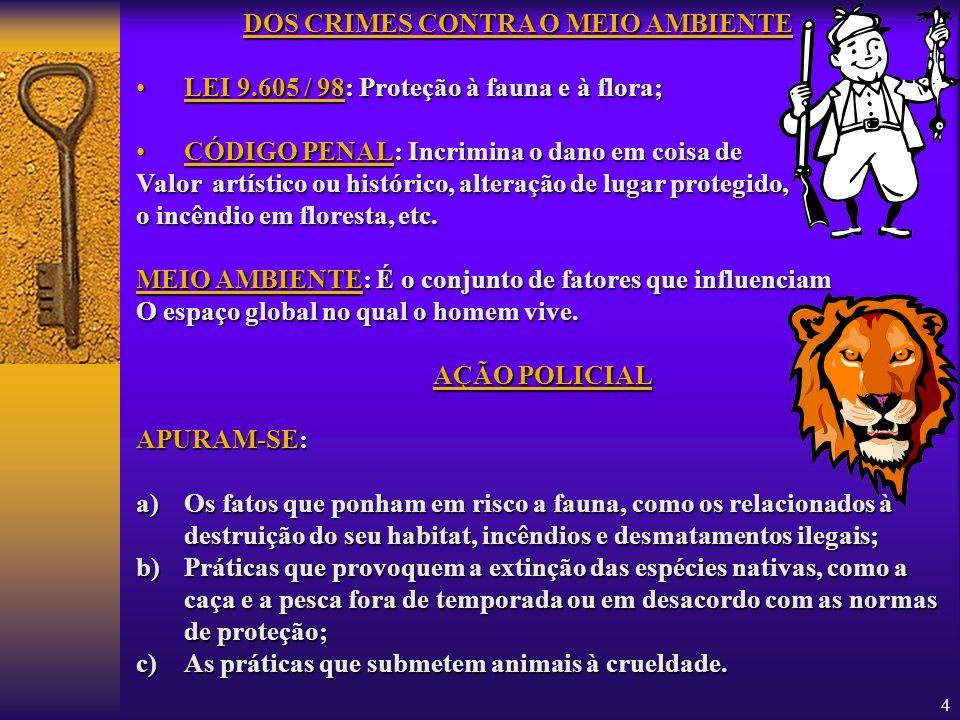 DOS CRIMES CONTRA O MEIO AMBIENTE