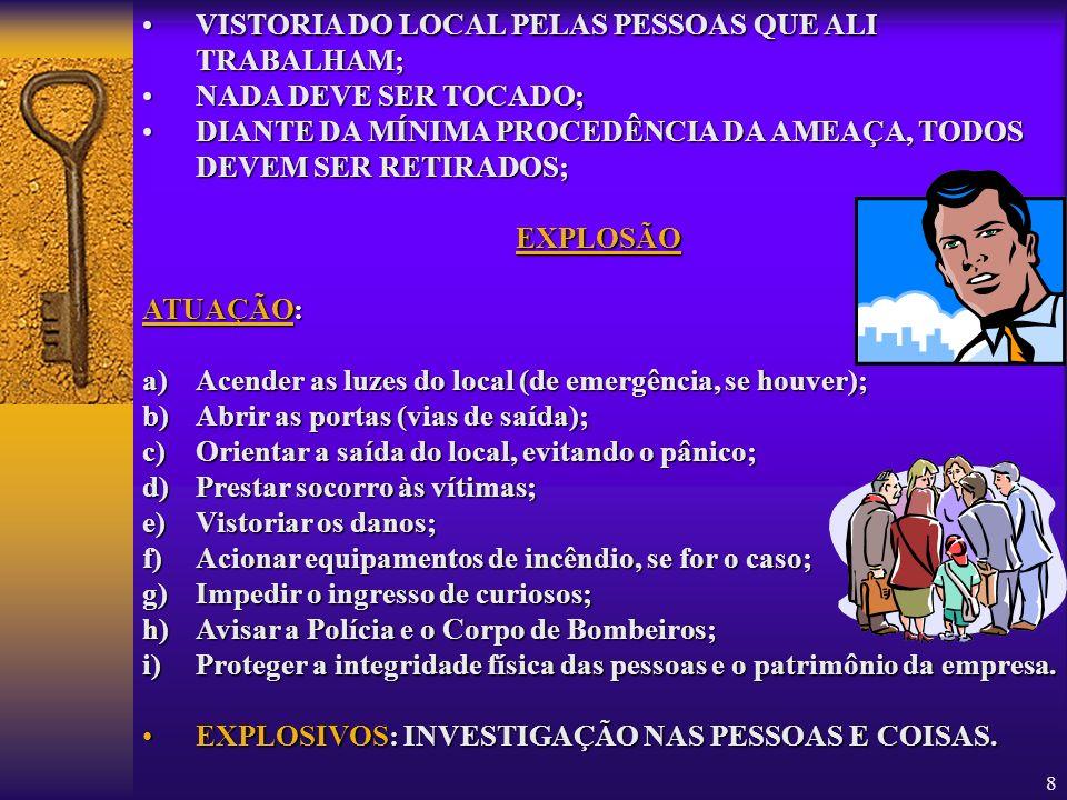 VISTORIA DO LOCAL PELAS PESSOAS QUE ALI TRABALHAM;
