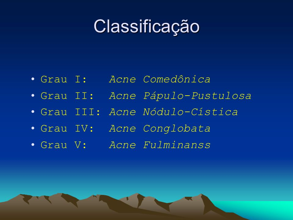 Classificação Grau I: Acne Comedônica Grau II: Acne Pápulo-Pustulosa