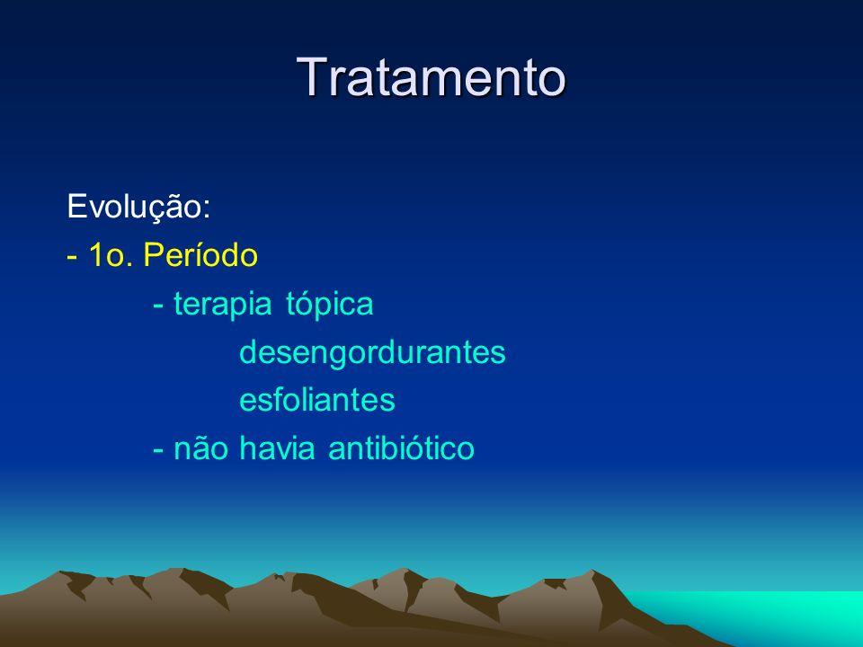 Tratamento Evolução: - 1o. Período - terapia tópica desengordurantes