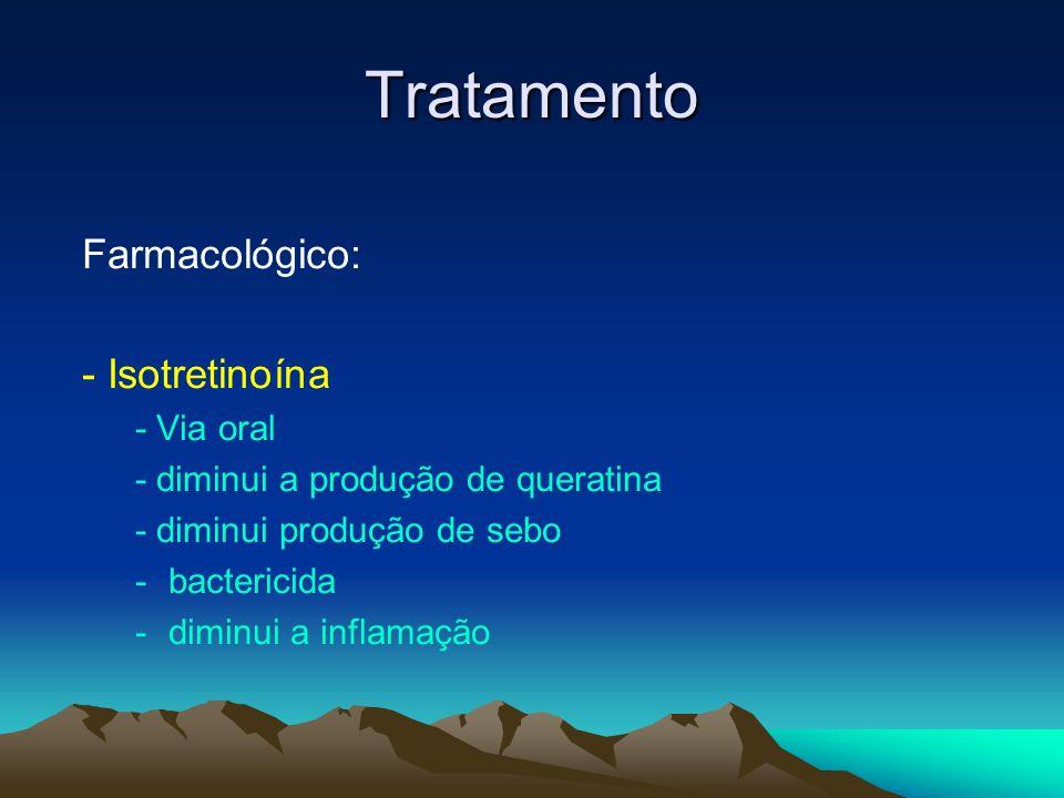 Tratamento Farmacológico: - Isotretinoína - Via oral