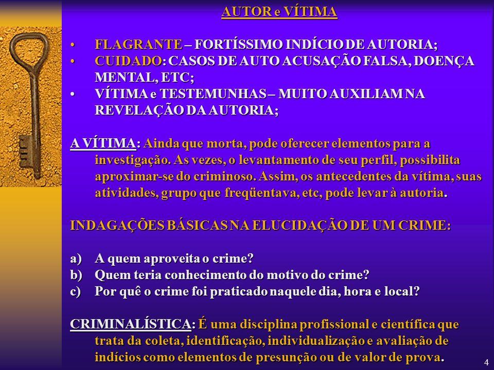 AUTOR e VÍTIMAFLAGRANTE – FORTÍSSIMO INDÍCIO DE AUTORIA; CUIDADO: CASOS DE AUTO ACUSAÇÃO FALSA, DOENÇA MENTAL, ETC;