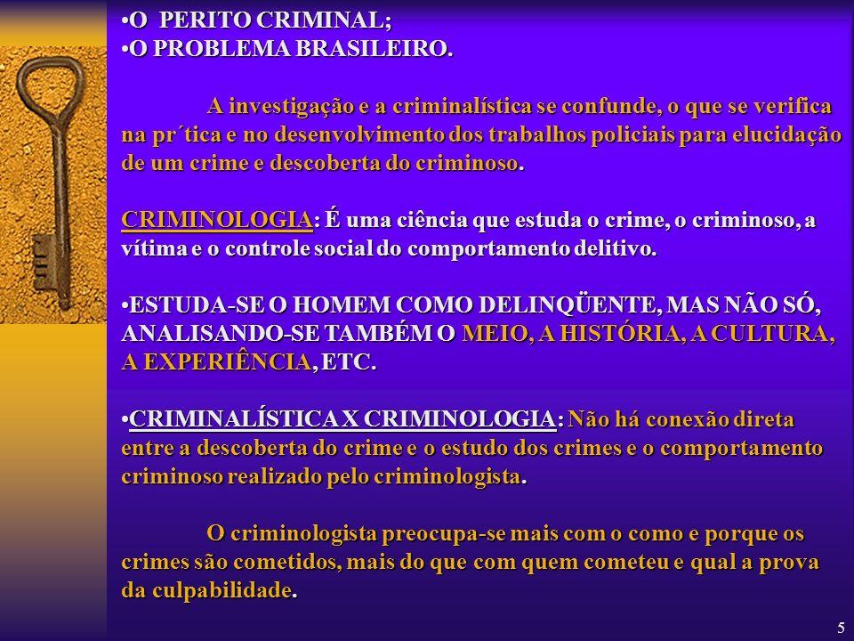 O PERITO CRIMINAL;O PROBLEMA BRASILEIRO.