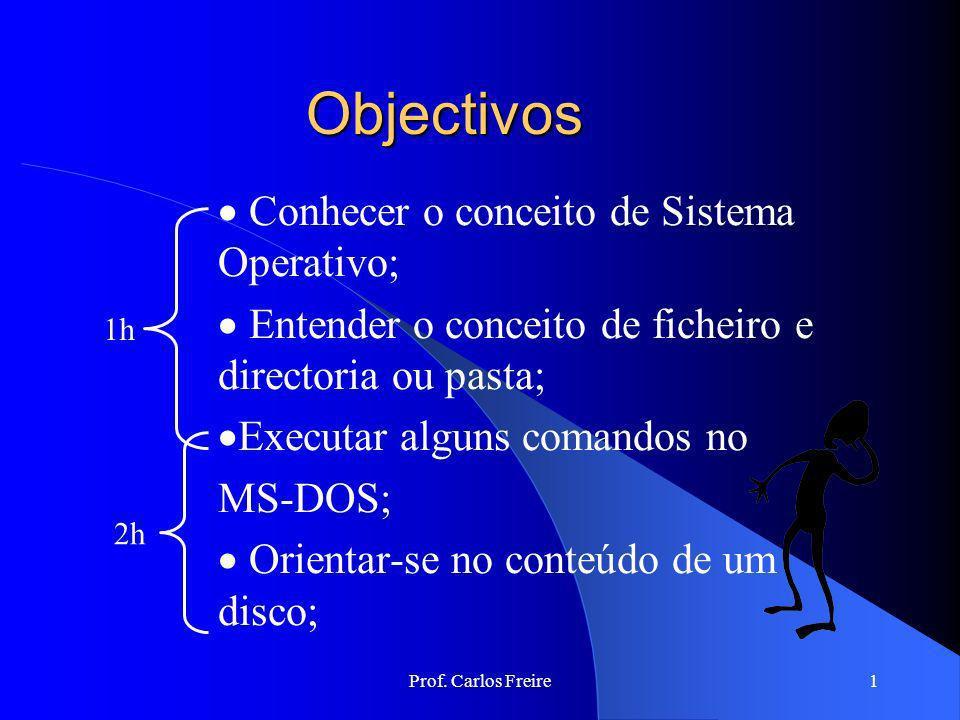 Objectivos Conhecer o conceito de Sistema Operativo;
