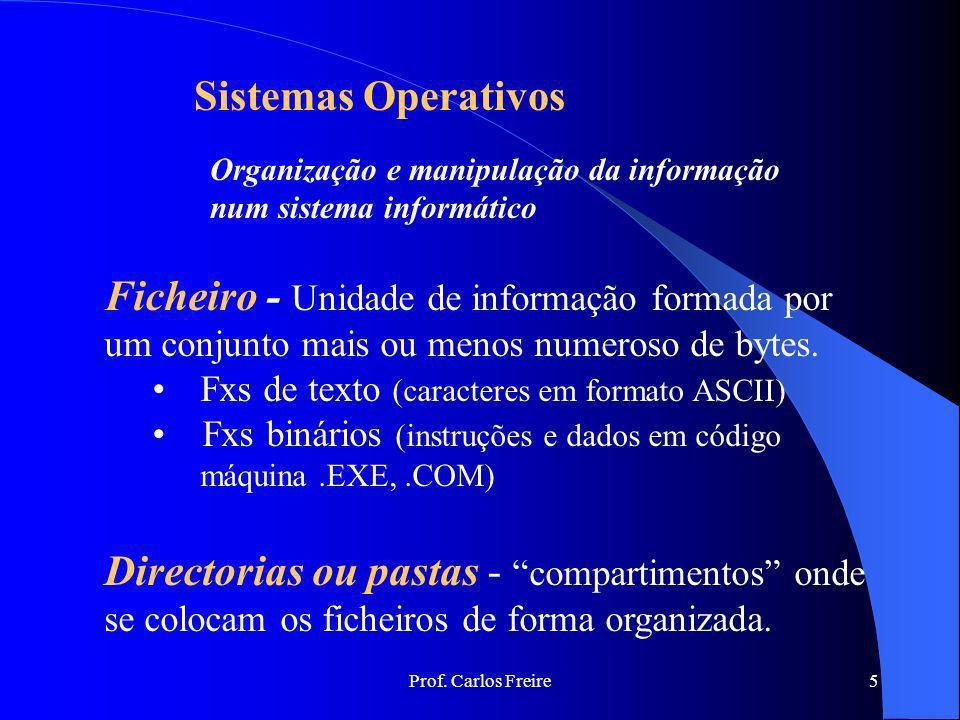 Sistemas Operativos Organização e manipulação da informação. num sistema informático.