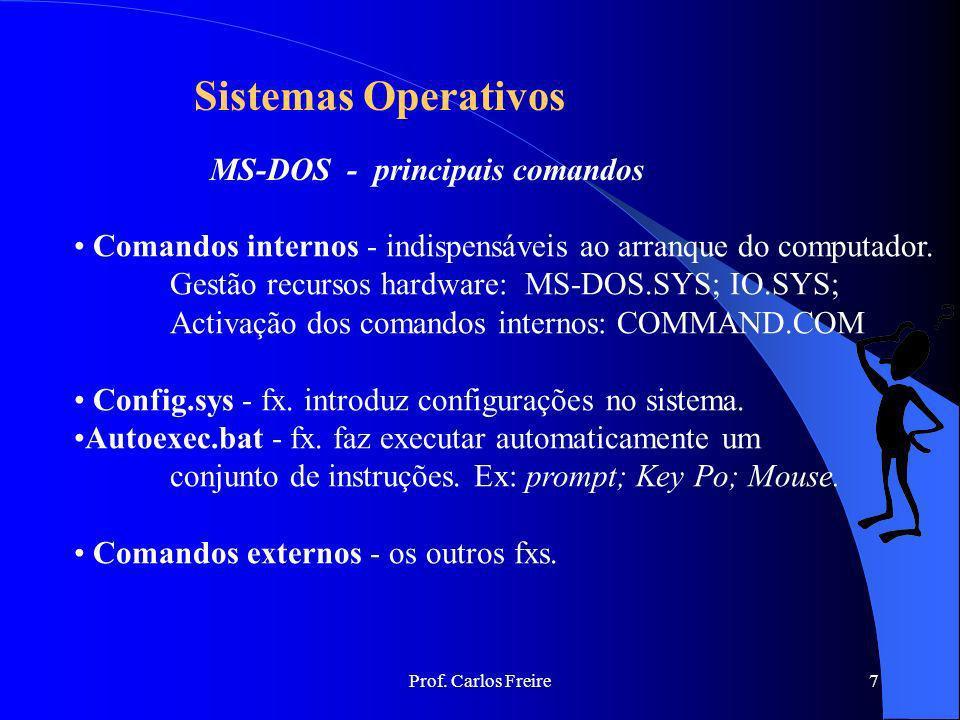 Sistemas Operativos MS-DOS - principais comandos