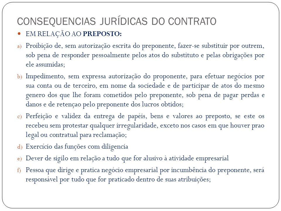 CONSEQUENCIAS JURÍDICAS DO CONTRATO