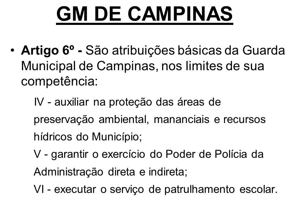 GM DE CAMPINAS Artigo 6º - São atribuições básicas da Guarda Municipal de Campinas, nos limites de sua competência: