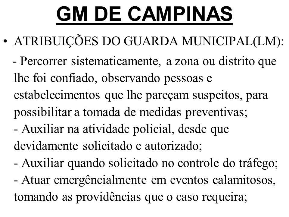 GM DE CAMPINAS ATRIBUIÇÕES DO GUARDA MUNICIPAL(LM):