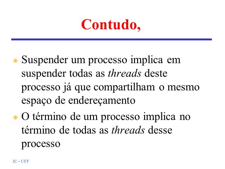 Contudo, Suspender um processo implica em suspender todas as threads deste processo já que compartilham o mesmo espaço de endereçamento.