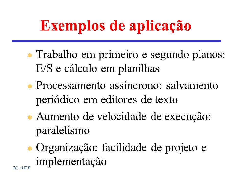 Exemplos de aplicação Trabalho em primeiro e segundo planos: E/S e cálculo em planilhas.