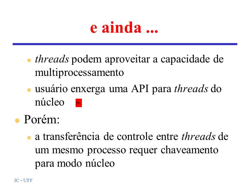 e ainda ... threads podem aproveitar a capacidade de multiprocessamento. usuário enxerga uma API para threads do núcleo.
