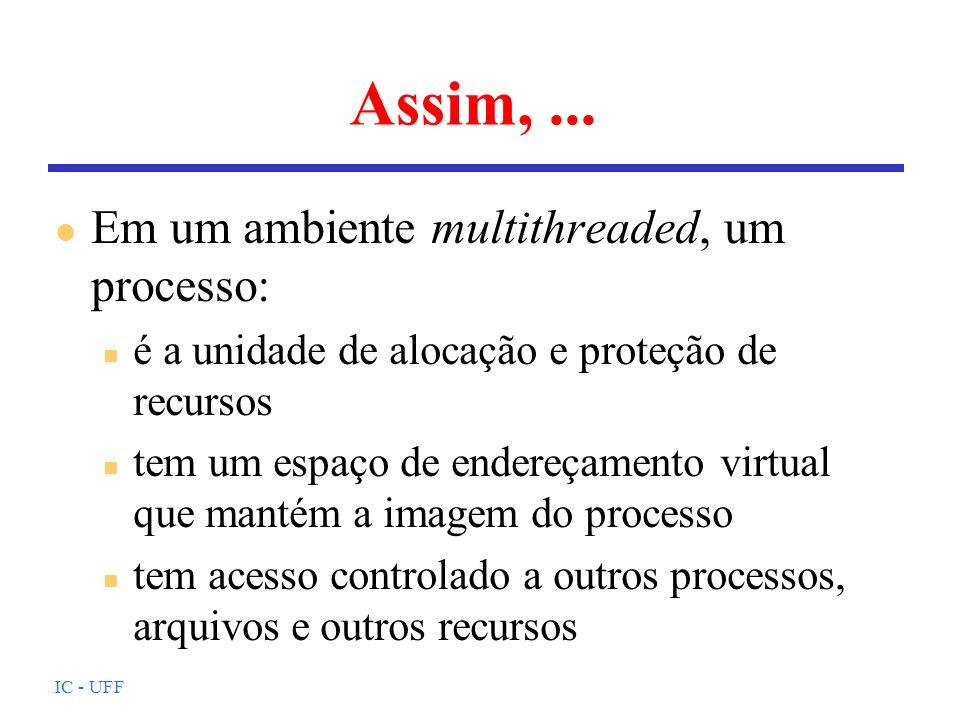 Assim, ... Em um ambiente multithreaded, um processo: