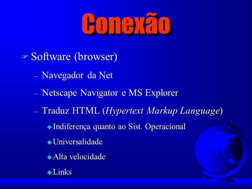 Conexão Software (browser) Navegador da Net