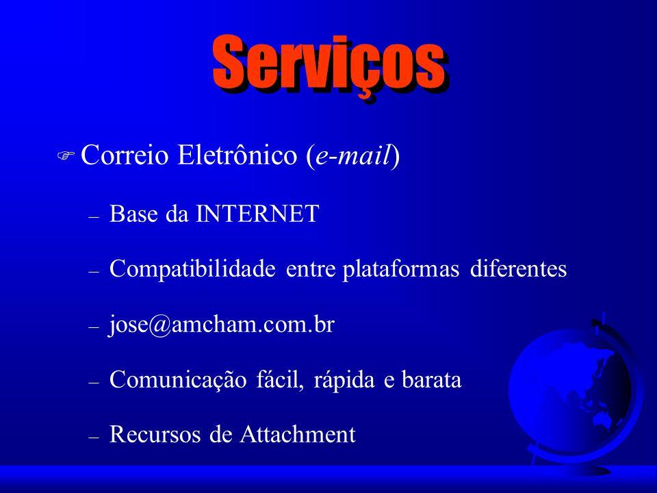 Serviços Correio Eletrônico (e-mail) Base da INTERNET
