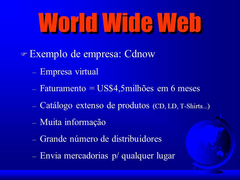 World Wide Web Exemplo de empresa: Cdnow Empresa virtual