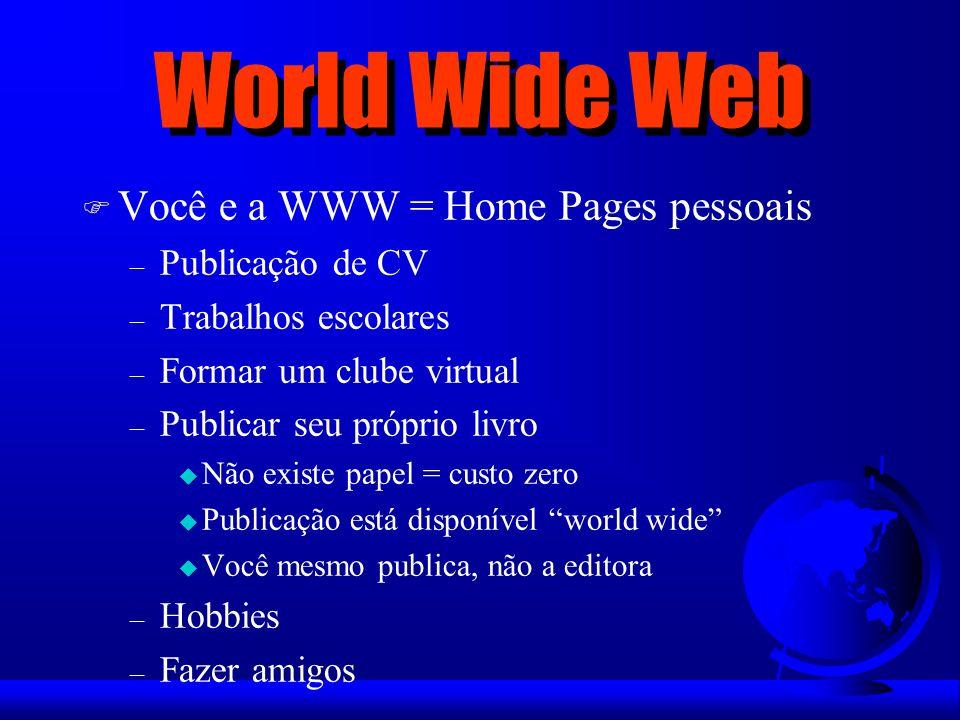 World Wide Web Você e a WWW = Home Pages pessoais Publicação de CV