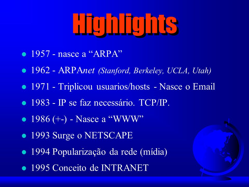 Highlights 1957 - nasce a ARPA
