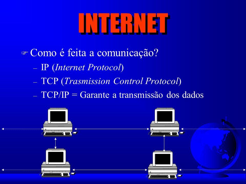 INTERNET Como é feita a comunicação IP (Internet Protocol)