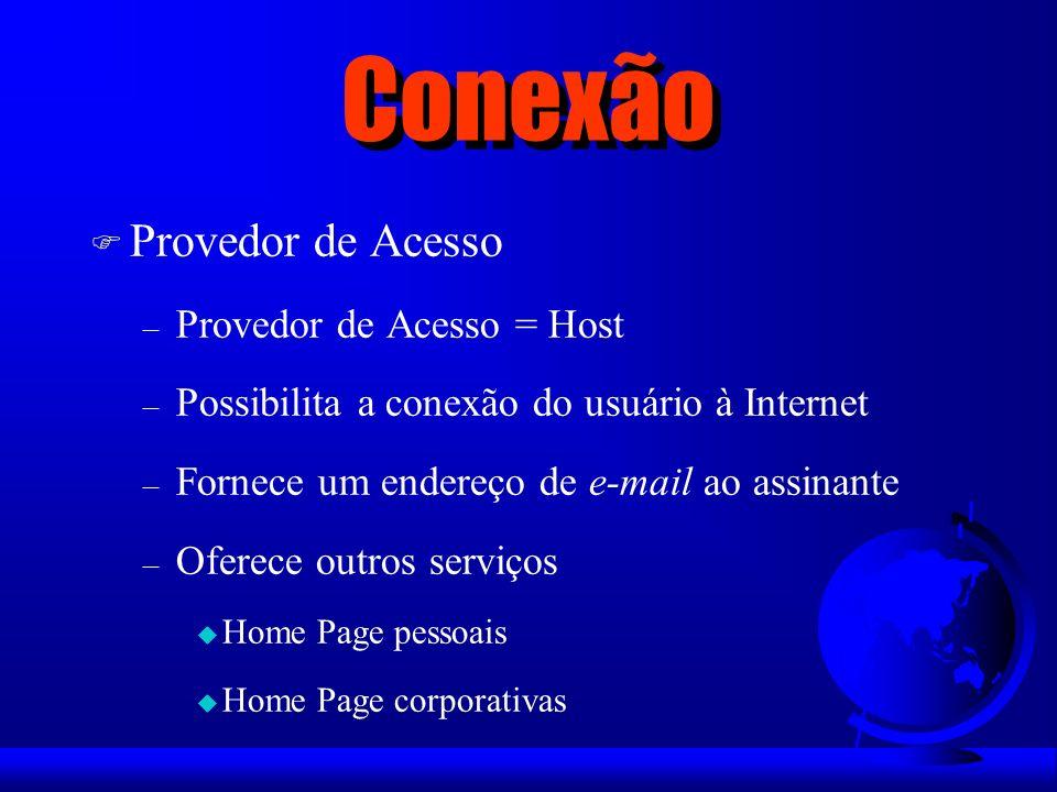 Conexão Provedor de Acesso Provedor de Acesso = Host