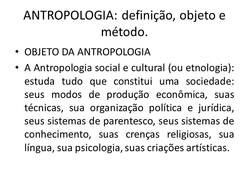 ANTROPOLOGIA: definição, objeto e método.