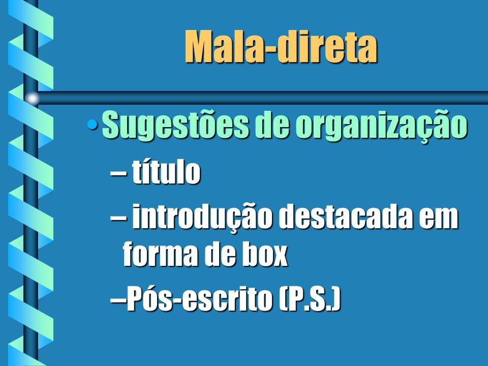 Mala-direta Sugestões de organização título