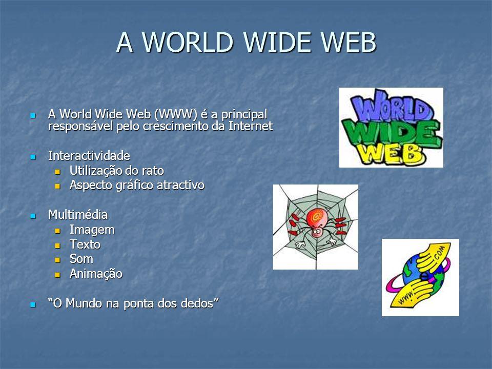 A WORLD WIDE WEB A World Wide Web (WWW) é a principal responsável pelo crescimento da Internet. Interactividade.
