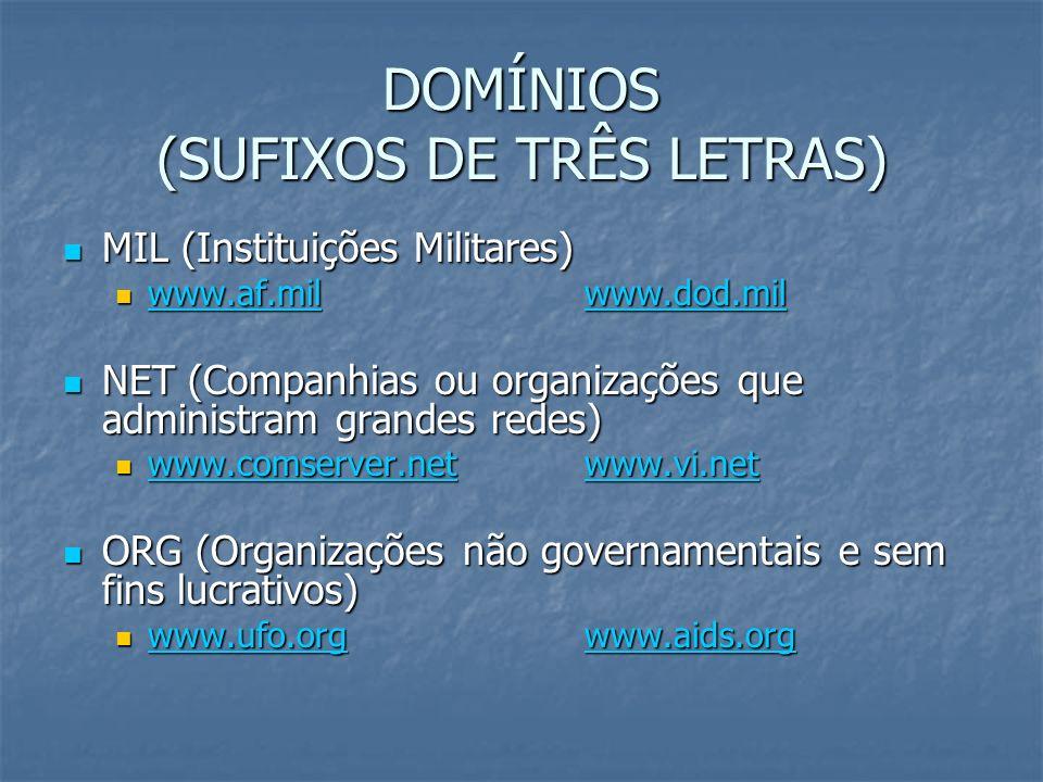 DOMÍNIOS (SUFIXOS DE TRÊS LETRAS)