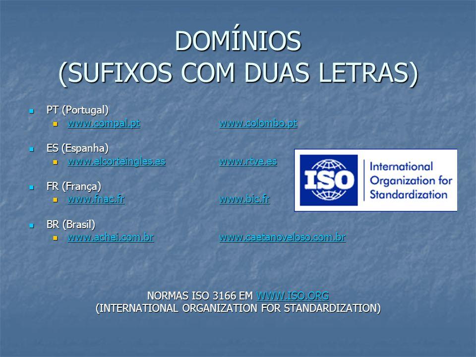 DOMÍNIOS (SUFIXOS COM DUAS LETRAS)
