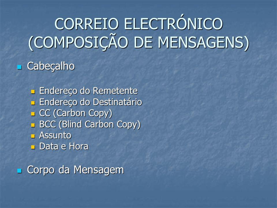 CORREIO ELECTRÓNICO (COMPOSIÇÃO DE MENSAGENS)