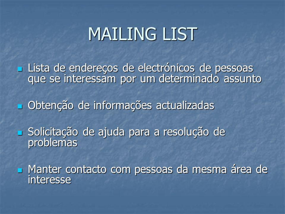 MAILING LIST Lista de endereços de electrónicos de pessoas que se interessam por um determinado assunto.