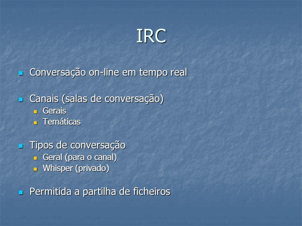 IRC Conversação on-line em tempo real Canais (salas de conversação)