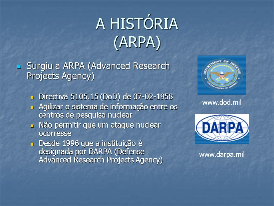 A HISTÓRIA (ARPA) Surgiu a ARPA (Advanced Research Projects Agency)