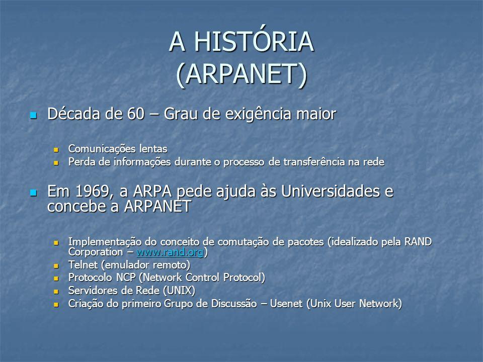 A HISTÓRIA (ARPANET) Década de 60 – Grau de exigência maior