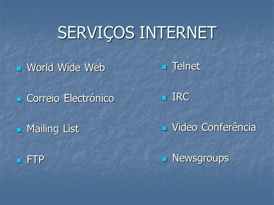 SERVIÇOS INTERNET Telnet World Wide Web IRC Correio Electrónico