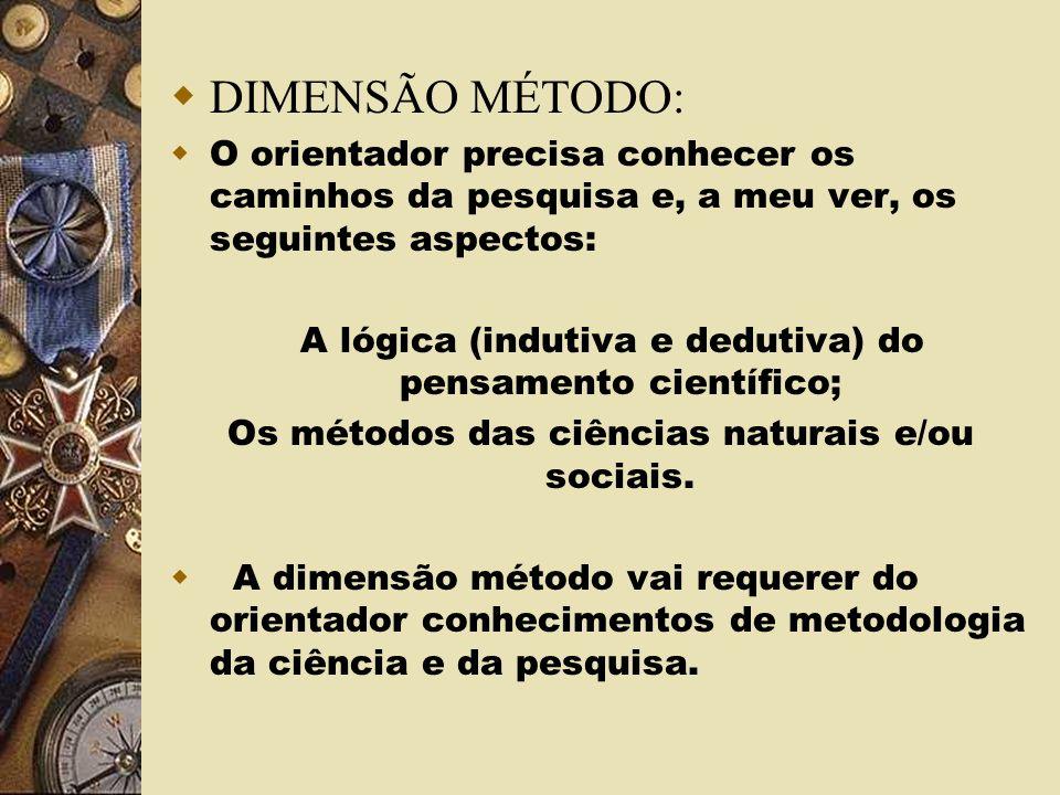 DIMENSÃO MÉTODO: O orientador precisa conhecer os caminhos da pesquisa e, a meu ver, os seguintes aspectos:
