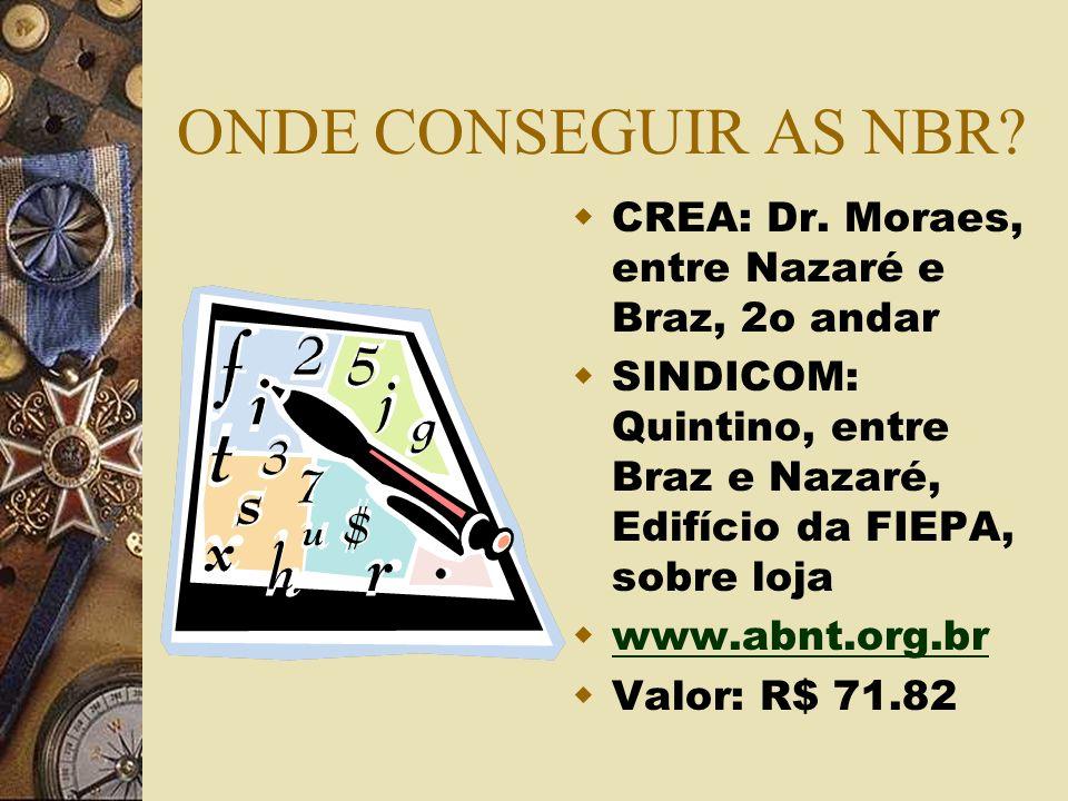 ONDE CONSEGUIR AS NBR CREA: Dr. Moraes, entre Nazaré e Braz, 2o andar