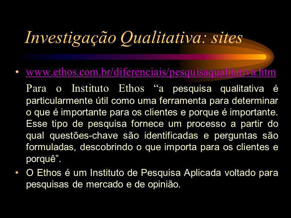 Investigação Qualitativa: sites