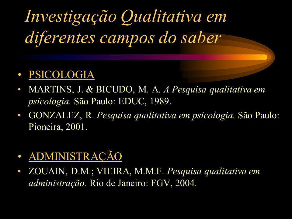 Investigação Qualitativa em diferentes campos do saber