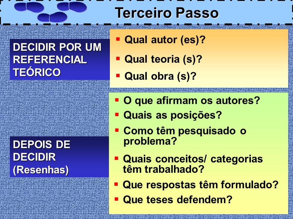 Terceiro Passo Qual autor (es) DECIDIR POR UM REFERENCIAL TEÓRICO