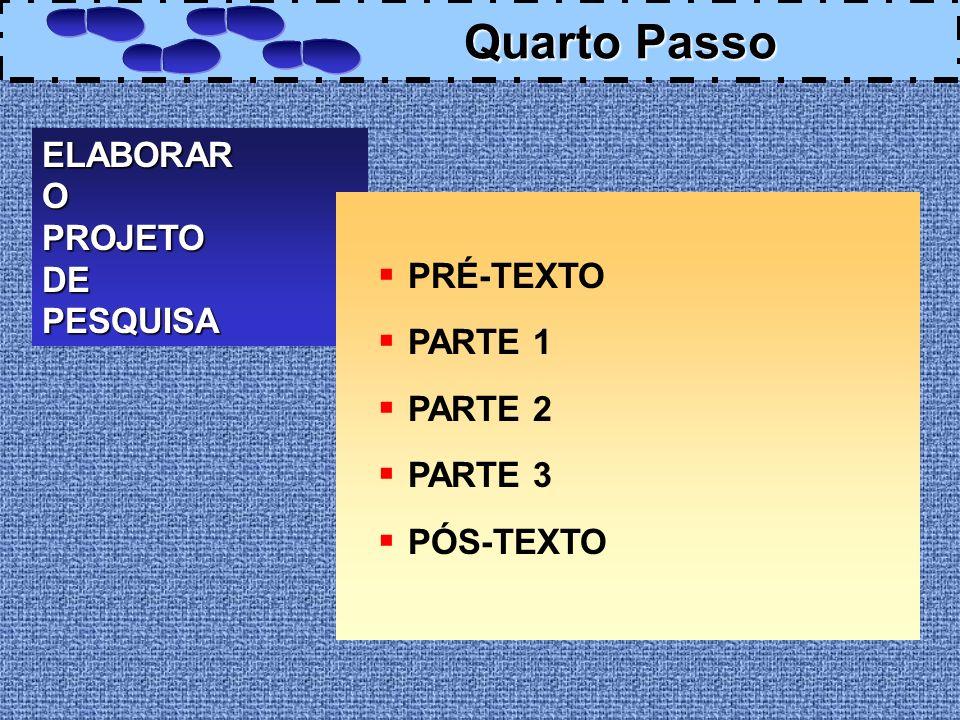 Quarto Passo ELABORAR O PROJETO DE PESQUISA PRÉ-TEXTO PARTE 1 PARTE 2