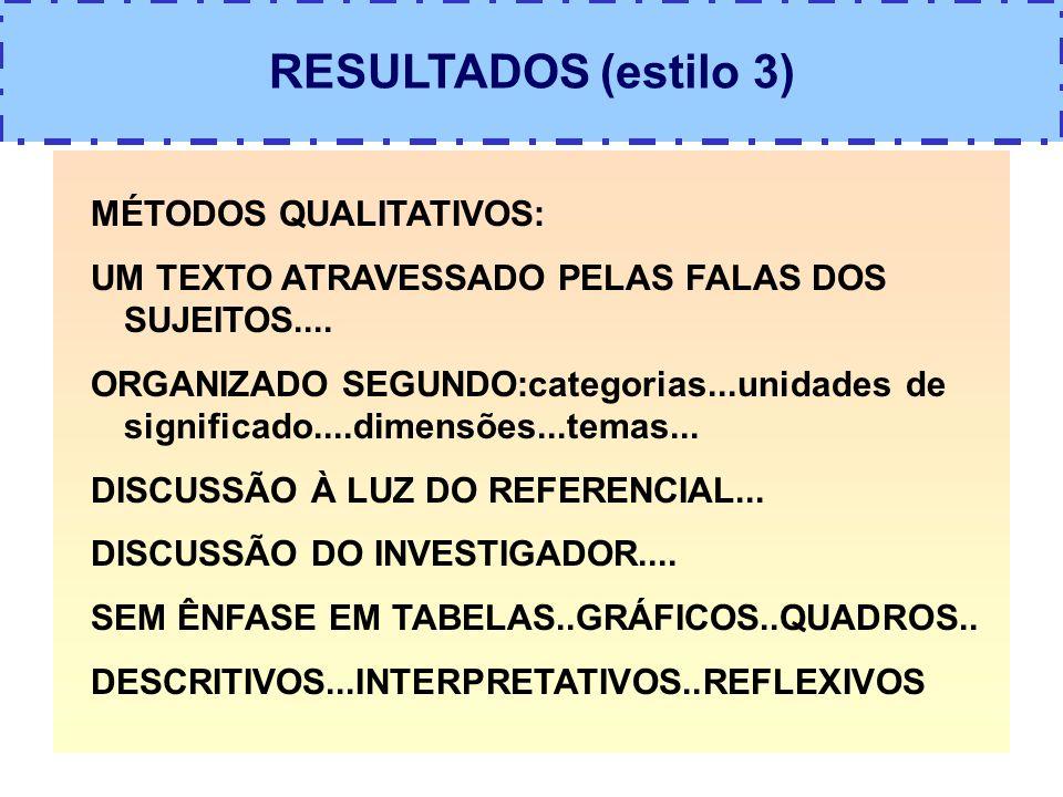 RESULTADOS (estilo 3) MÉTODOS QUALITATIVOS: