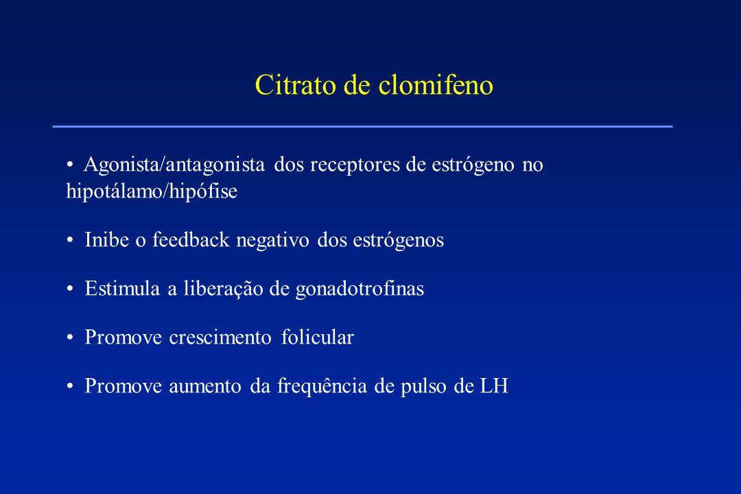 Citrato de clomifeno Agonista/antagonista dos receptores de estrógeno no hipotálamo/hipófise. Inibe o feedback negativo dos estrógenos.