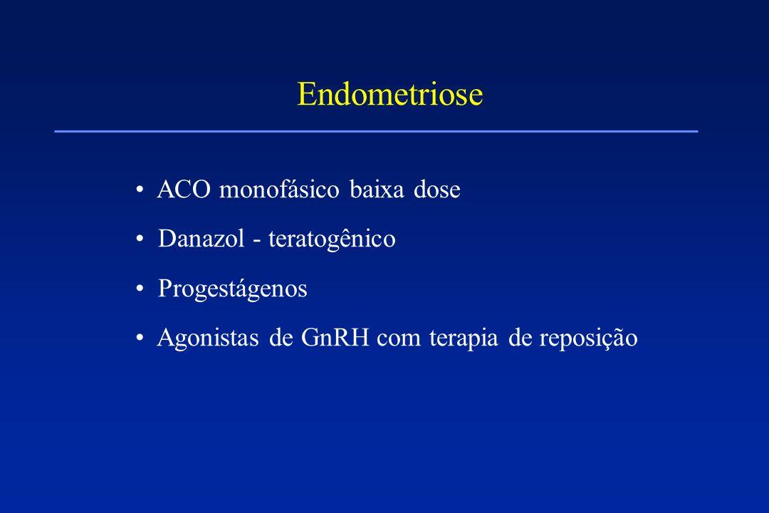 Endometriose ACO monofásico baixa dose Danazol - teratogênico